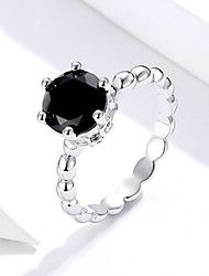 cheap -Silver Color Finger Ring with Black Cubic Zirconia For Women Fashion Wedding Jewelry