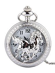 Недорогие -Муж. Карманные часы Кварцевый Старинный Серебристый металл Творчество Новый дизайн Повседневные часы Аналого-цифровые Винтаж - Серебряный