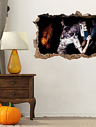 cheap -Halloween New Wall Sticker 3D Broken Wall Nurse Zombie Wall Background Decoration Pvc Graffiti Sticker