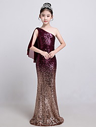 cheap -Sheath / Column Floor Length Flower Girl Dress - Polyester Sleeveless One Shoulder with Paillette