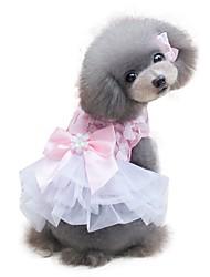 cheap -Dog Dress Dog Clothes Yellow Pink Costume Chiffon Bowknot Chic & Modern Wedding Fashion XS S M L XL