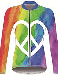 Недорогие -21Grams Знак мира Жен. Длинный рукав Велокофты - Красный + синий Велоспорт Джерси Верхняя часть Сохраняет тепло Устойчивость к УФ Дышащий Виды спорта Зима 100% полиэстер / Эластичная