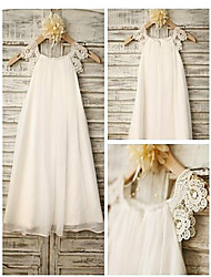 cheap -A-Line Tea Length Flower Girl Dress - Chiffon / Satin Sleeveless Jewel Neck with Lace