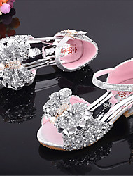 cheap -Girls' Flower Girl Shoes Synthetics Sandals Little Kids(4-7ys) / Big Kids(7years +) Bowknot / Sequin / Buckle Silver / Pink Spring / Fall / Peep Toe / Rubber