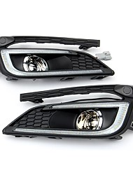 cheap -Pair LED DRL Daytime Running Lights w/ Fog Driving Lamp Dual Color for Chevrolet Cruze 16-17