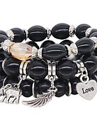 abordables -3pcs Bracelet à Perles Bracelet Yoga Bracelet en cristal Femme Perlé Perle Cœur Lettre Bohème Naturel Le style mignon Elégant Bracelet Bijoux Noir Blanche Rouge pour Quotidien
