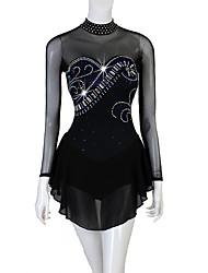 cheap -Figure Skating Dress Women's Girls' Ice Skating Dress Black Patchwork Stretch Yarn High Elasticity Competition Skating Wear Crystal / Rhinestone Figure Skating