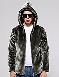 cheap -Men's Daily Fall & Winter Regular Faux Fur Coat, Solid Colored Hooded Long Sleeve Faux Fur Black / Silver / Royal Blue