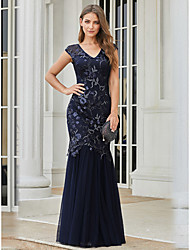 cheap -Mermaid / Trumpet V Neck Floor Length Tulle / Sequined Elegant Formal Evening Dress with 2020