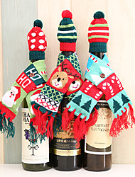 cheap -Christmas Party Scarf Hat Knitted Red Wine Bottle Decoration Novelty Scarf Bear Tassel Santa Claus Hat For Home Christmas Decorations 3pcs