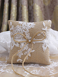 cheap -Jute Floral Linen Ring Pillow Garden Theme / Pillow / Wedding All Seasons