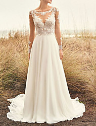 cheap -A-Line Bateau Neck Sweep / Brush Train Chiffon / Lace Long Sleeve Casual Plus Size Made-To-Measure Wedding Dresses with Appliques 2020