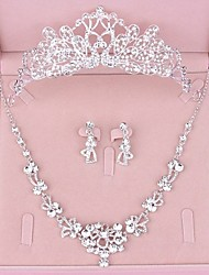 cheap -Women's Clear Crystal Bridal Jewelry Sets Classic Crown Luxury Fashion Rhinestone Earrings Jewelry Silver For Wedding Party Engagement 1 set / Hair Jewelry