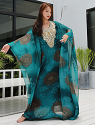 cheap -Belly Dance Coat Beading Pattern / Print Women's Performance Half-Sleeve Dropped Chiffon