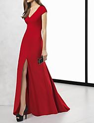 cheap -Mermaid / Trumpet V Neck / Plunging Neck Sweep / Brush Train Jersey Elegant Formal Evening Dress with Split Front 2020