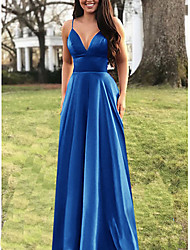 cheap -Women's Plus Size Cocktail Party Prom Elegant Maxi Swing Dress - Solid Colored Fashion Strappy Strap Spring Purple Gold Blue S M L XL