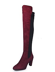 cheap -Women's Boots Over-The-Knee Boots Chunky Heel Round Toe Cotton Over The Knee Boots Summer Black / Red / Gray