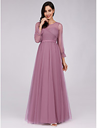 cheap -A-Line Jewel Neck Floor Length Tulle Bridesmaid Dress with Sash / Ribbon by LAN TING Express