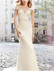 cheap -Sheath / Column Bateau Neck Sweep / Brush Train Lace / Satin Cap Sleeve Made-To-Measure Wedding Dresses with Lace 2020