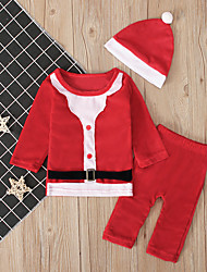 cheap -Baby Boys' Active / Basic Color Block / Christmas Long Sleeve Regular Clothing Set Red
