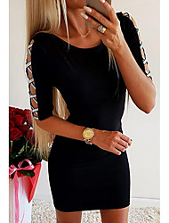 cheap -Women's Going out Bodycon Dress - Solid Colored Cut Out Glitter Black S M L XL
