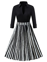 cheap -Women's Black Dress Elegant A Line Striped Shirt Collar S M