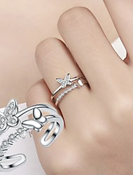 cheap -Women's Ring Open Ring 1pc Silver Copper Circular Basic Korean Fashion Gift Daily Jewelry Butterfly Animal Lovely