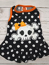 cheap -Dogs Cats Pets Dress Dog Clothes Black Halloween Costume Polyster Polka Dot Skull Holiday S M