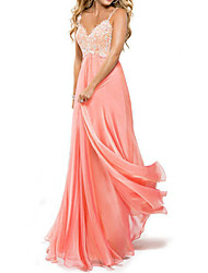 cheap -A-Line Beautiful Back Prom Dress Spaghetti Strap Sleeveless Floor Length Chiffon Lace with Appliques 2020