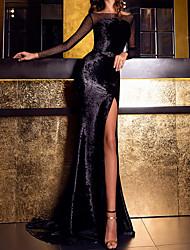 cheap -Sheath / Column Boat Neck Sweep / Brush Train Velvet Elegant Formal Evening Dress with Split Front 2020