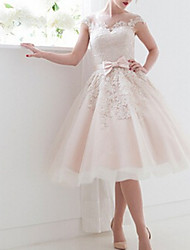 cheap -A-Line Bateau Neck Tea Length Lace Regular Straps Casual / Vintage Illusion Detail / Backless / Cute Wedding Dresses with Bow(s) 2020