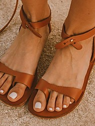 cheap -Women's Sandals Flat Heel Round Toe PU Summer Black / Brown / Red