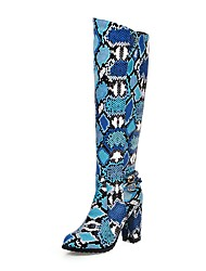 cheap -Women's Boots Knee High Boots Chunky Heel Round Toe PU Knee High Boots Classic Fall & Winter Yellow / Blue / Gray / Party & Evening