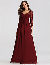 cheap -A-Line Sweetheart Neckline Floor Length Chiffon / Lace Open Back Formal Evening Dress with Ruched by LAN TING Express