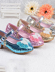 cheap -Girls' Flower Girl Shoes PU Heels Little Kids(4-7ys) / Big Kids(7years +) Bowknot / Sequin / Buckle Silver / Blue / Pink Spring / Fall / Rubber