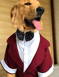 cheap -Dog Dress Tuxedo Suit Color Block Wedding Wedding Party Dog Clothes Black Red Gray Costume Baby Small Dog Polyster XS S M L XL / Large Dog