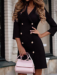 cheap -Women's Sheath Dress Short Mini Dress 3/4 Length Sleeve Solid Colored Hot Black Purple Wine S M L XL XXL