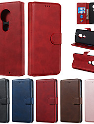 cheap -Case For Motorola MOTO G7 G7 Play Phone Case PU Leather Material Solid Color Pattern Phone Case for MOTO G6 G6 Play G6 Plus E5