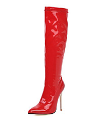 cheap -Women's Boots Knee High Boots Stiletto Heel Pointed Toe PU Knee High Boots Fall & Winter Black / White / Red / Party & Evening