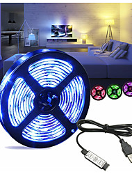 cheap -1m Flexible LED Light Strips 30 LEDs SMD5050 10mm RGB USB / Decorative / Self-adhesive USB Powered 1 set