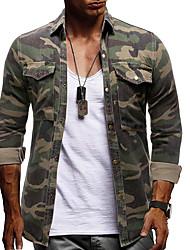 cheap -Men's Shirt Camo / Camouflage Long Sleeve Daily Tops Basic Elegant Army Green
