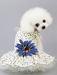 cheap -Dogs Dress Dog Clothes Yellow Blue Costume Polyster Flower Wedding XS S M L XL