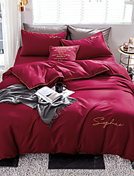 cheap -Duvet Cover Sets Solid Colored 100% Egyptian Cotton Reactive Print / Embroidery 4 PieceBedding Sets