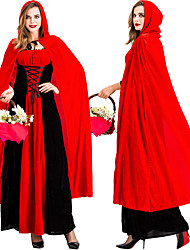 cheap -Little Red Riding Hood Dress Cosplay Costume Cloak Adults' Women's Cosplay Halloween Halloween Festival / Holiday Plush Fabric Cotton Red Women's Carnival Costumes