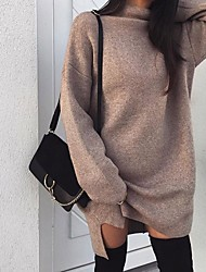 cheap -Women's Sweater Dress - Long Sleeve Solid Colored Crew Neck Basic Daily Black Purple Blushing Pink Khaki Gray S M L XL XXL