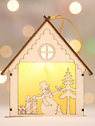 cheap -Christmas Ornaments Christmas Wooden House Shaped Wooden Christmas Decoration