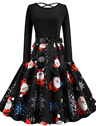 cheap -Women's Santa Claus Swing Dress - Long Sleeve Geometric Patchwork Print Basic Vintage Christmas Party Festival Black S M L XL XXL
