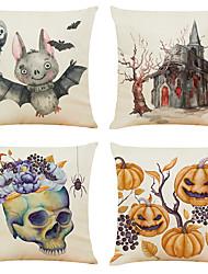 cheap -Set of 4 Cartoon Halloween Linen Square Decorative Throw Pillow Cases Sofa Cushion Covers 18x18