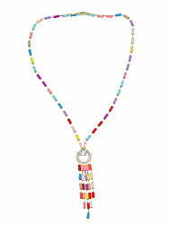 cheap -Women's Multicolor Pendant Necklace Long Necklace Tassel Flower Shell Artistic Romantic Ethnic Boho Acrylic Red 50 cm Necklace Jewelry 1pc For Carnival Street Holiday Club Festival