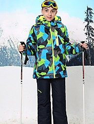 cheap -Boys' Ski Jacket with Pants Skiing Snowboarding Winter Sports Rain Waterproof Warm Skiing POLY Terylene Clothing Suit Ski Wear